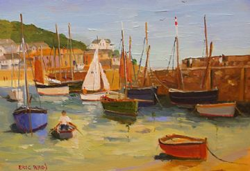 Eric Ward Original Oil Painting Mousehole Harbour Cornwall